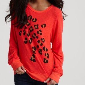 Wildfox Orange Leopard Print Jumper Medium